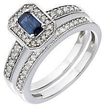18ct White Gold Diamond & Sapphire Vintage Bridal Set - Product number 5260701