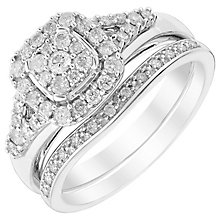 Perfect Fit Platinum 1/2ct Diamond Cluster Bridal Set - Product number 5260833