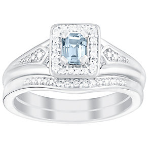 Perfect Fit 18ct White Gold Aquamarine & Diamond Bridal Set - Product number 5261376