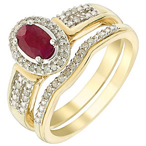 Perfect Fit 18ct Yellow Gold Oval Ruby & Diamond Bridal Set - Product number 5261503