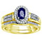 9ct Gold Sapphire & 0.15 Carat Diamond Bridal Ring Set - Product number 5261635