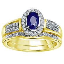 9ct Gold Sapphire & 0.15ct Diamond Perfect Fit Bridal Set - Product number 5261635