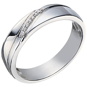 Perfect Fit Men's Palladium Diamond Wedding Ring - Product number 5262038