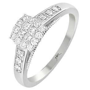 18ct White Gold 1/3 Carat Diamond Square Cluster Ring - Product number 5262763