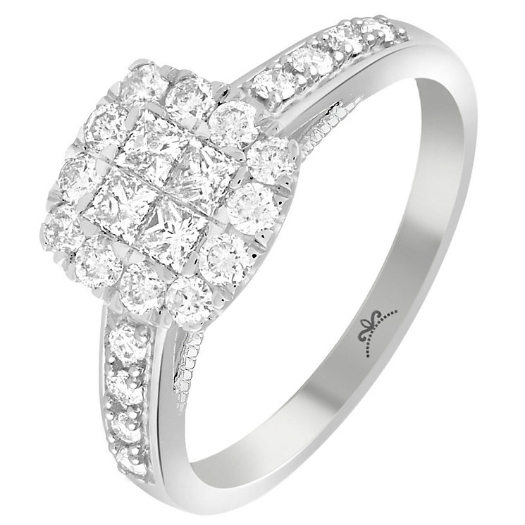 18ct White Gold 2/3 Carat Diamond Square Cluster Ring - Product number 5263301