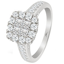 9ct White Gold 1 Carat Diamond Princessa Cluster Ring - Product number 5263433
