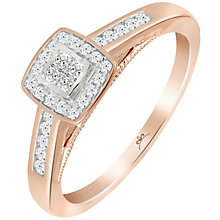 9ct Rose Gold 1/4 Carat Diamond Princessa Cluster Ring - Product number 5263565