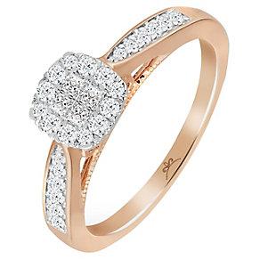 9ct Rose Gold 1/3 Carat Diamond Princessa Cluster Ring - Product number 5263972