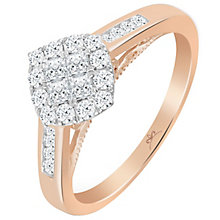9ct Rose Gold 1/2 Carat Diamond Princessa Cluster Ring - Product number 5264618
