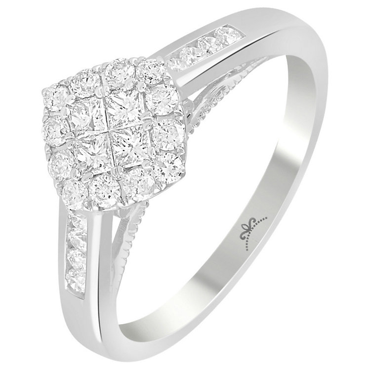 18ct White Gold 1/2 Carat Diamond Square Cluster Ring - Product number 5264731