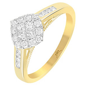 18ct Yellow Gold 1/2 Carat Diamond Square Cluster Ring - Product number 5264863