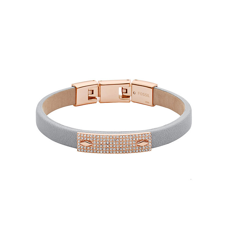 Fossil Rose Gold-Plated Stone Set Grey Leather Bracelet - Product number 5266904