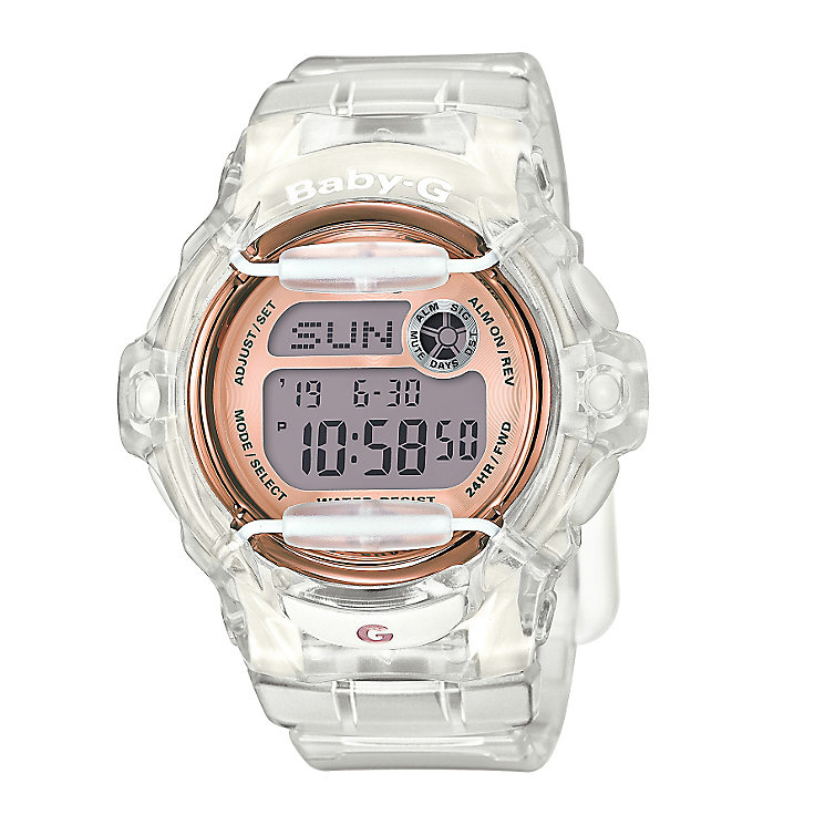Casio Baby-G Ladies' Rose Tone Dial Clear Resin Strap Watch - Product number 5267188