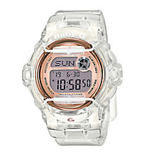 Baby-G Ladies' Rose Tone Dial Clear Resin Strap Watch - Product number 5267188