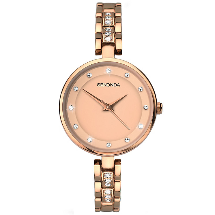 Sekonda Ladies' Stone Set Rose Gold-Plated Bracelet Watch - Product number 5267307