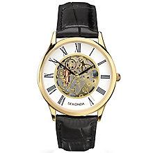 Sekonda Men's Skeleton Dial Black Leather Strap Watch - Product number 5267420