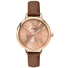 Sekonda Editions Ladies' Rose Gold Brown Leather Strap Watch - Product number 5267447