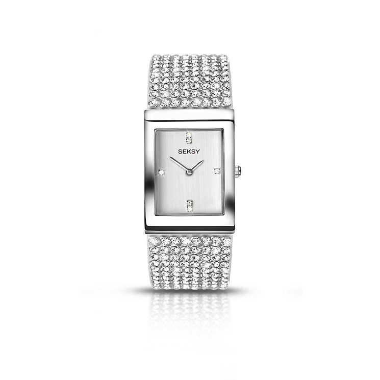 Seksy Ladies' Krystal Rhodium-Plated Bracelet Watch - Product number 5267536