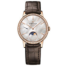 Zenith Elite Primero Ladies' Rose Gold Plated Strap Watch - Product number 5275482