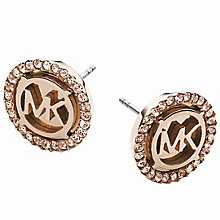 Michael Kors Rose Gold Tone Logo Stud Earrings - Product number 5277299