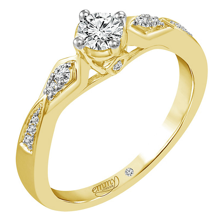 Emmy London 18ct Yellow Gold 0.33ct Diamond Solitaire Ring - Product number 5286425