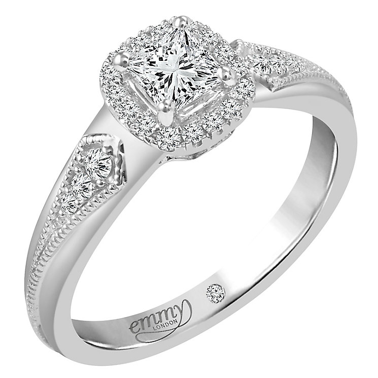 Emmy London 9ct White Gold 1/2 Carat Diamond Solitaire Ring - Product number 5287944