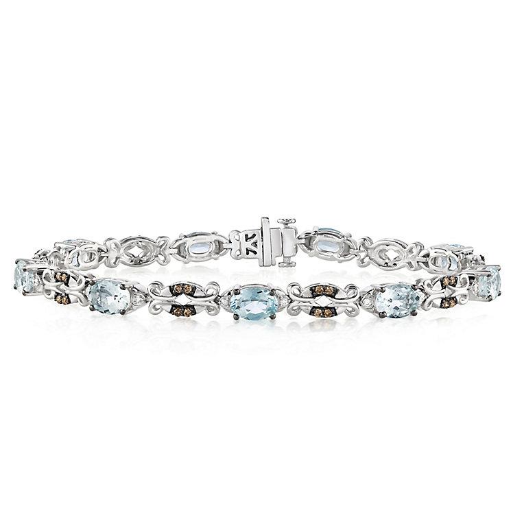 Le Vian 14ct Vanilla Gold Diamond & Aquamarine Bracelet - Product number 5289009