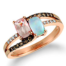 Le Vian 14ct Strawberry Gold Peach Morganite & Opal Ring - Product number 5289173