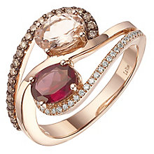 Le Vian 14ct Strawberry Gold Peach Morganite & Garnet Ring - Product number 5289181