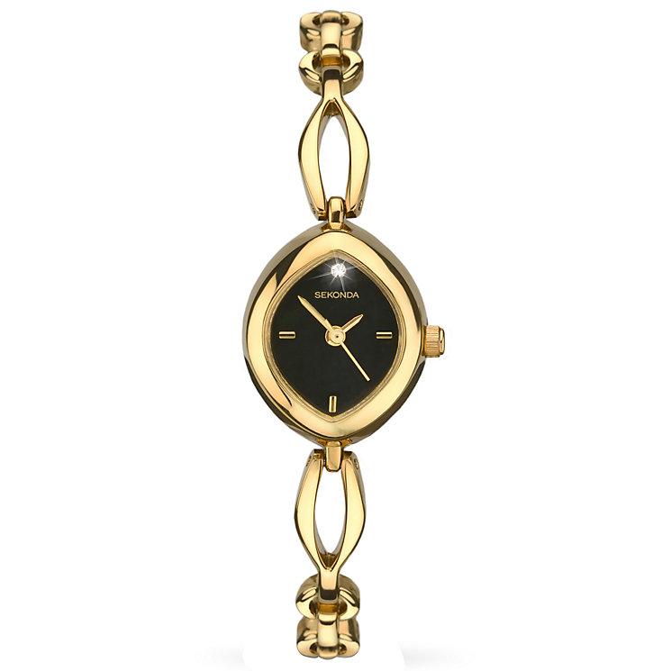 Sekonda Ladies' Black Dial Gold-Plated Bracelet Watch - Product number 5291720