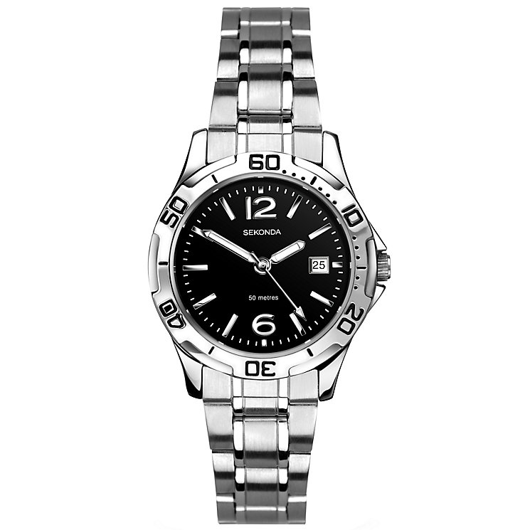 Sekonda Ladies' Black Dial Stainless Steel Bracelet Watch - Product number 5291739