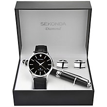 Sekonda Diamond Men's Black Strap Watch, Pen & Cufflinks Set - Product number 5291747