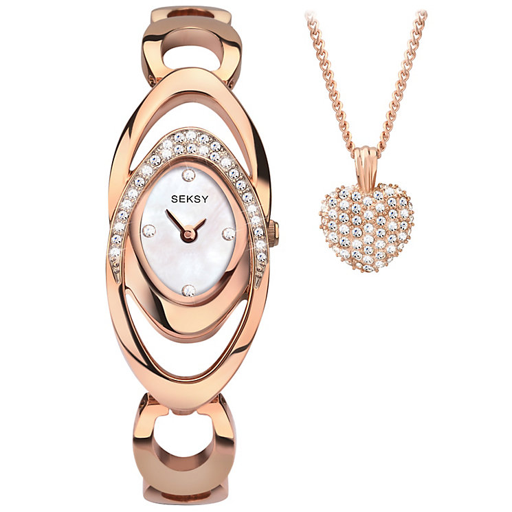 Sekonda Seksy Ladies' Rose Tone Bracelet Watch & Pendant Set - Product number 5291860