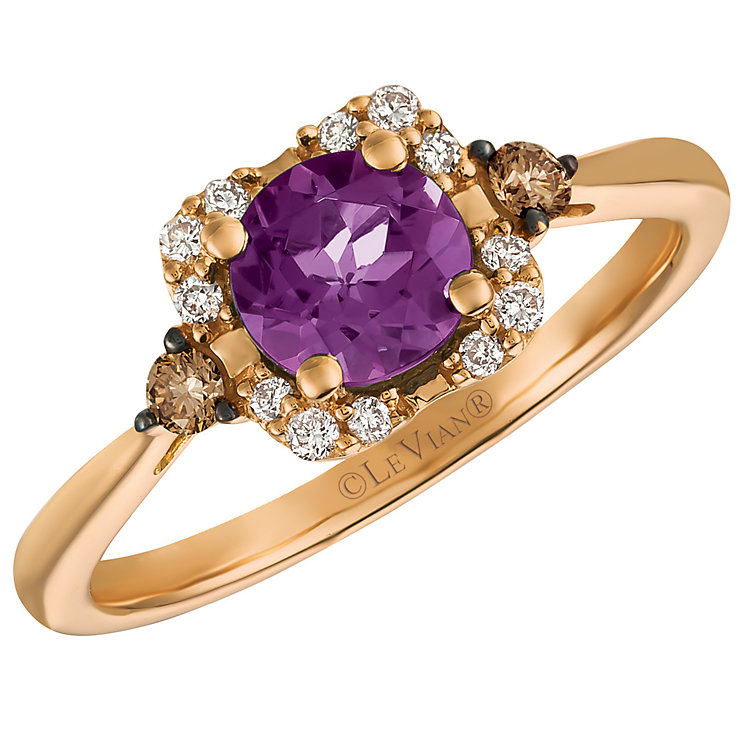 14ct Strawberry Gold Grape Amethyst and Diamond Ring - Product number 5292085