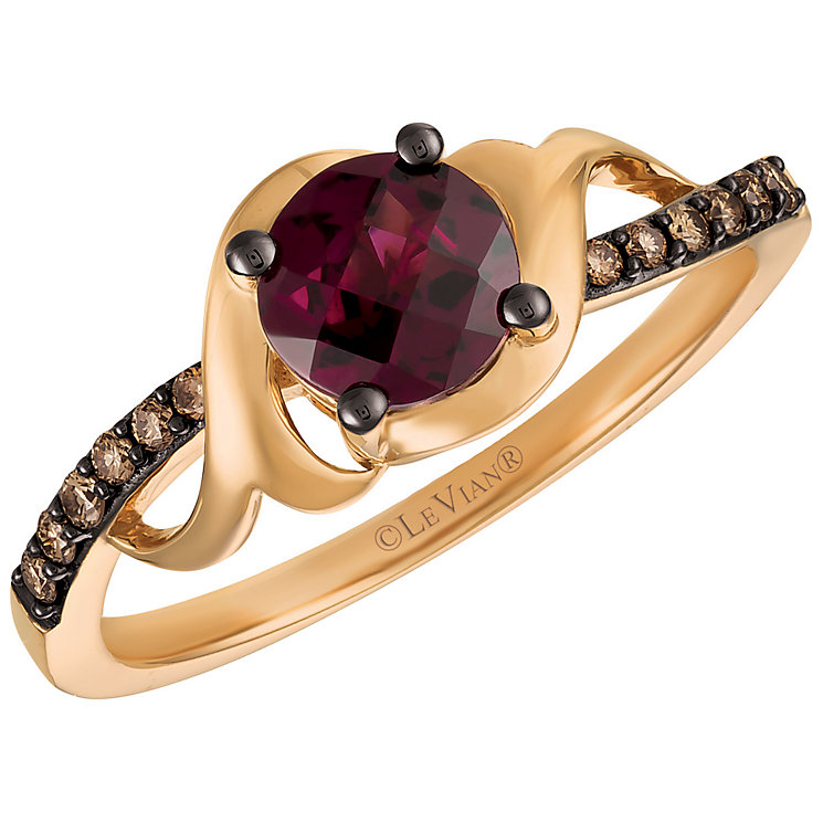 14ct Strawberry Gold Raspberry Rhodalite and Diamond Ring - Product number 5292379