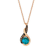 14ct Strawberry Gold London Blue Topaz and Diamond Pendant - Product number 5292778