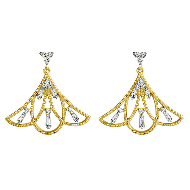 Emmy London 9ct Gold 1/4 Carat Diamond Set Fan Drop Earrings - Product number 5292786