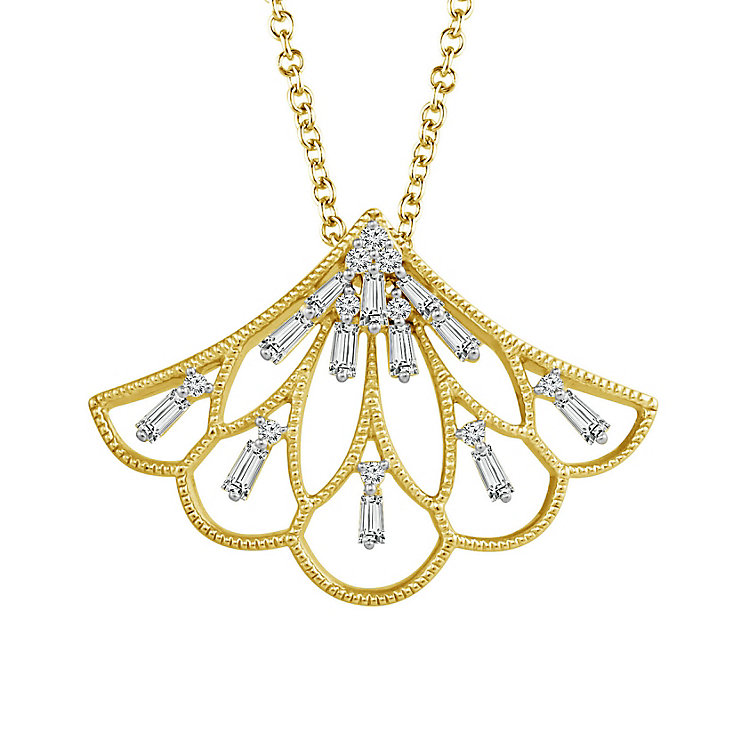 Emmy London 9ct Gold 1/4 Carat Diamond Set Fan Pendant - Product number 5292794