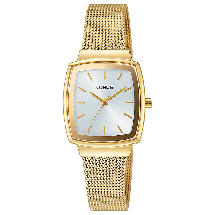 Lorus Ladies' Tonneau Dial Gold-Plated Mesh Bracelet Watch - Product number 5292808