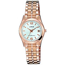 Lorus Ladies' White Dial Rose Gold-Plated Bracelet Watch - Product number 5292816