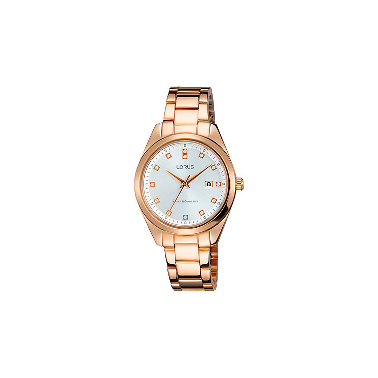 Lorus Ladies' White Dial Rose Gold-Plated Bracelet Watch - Product number 5292824