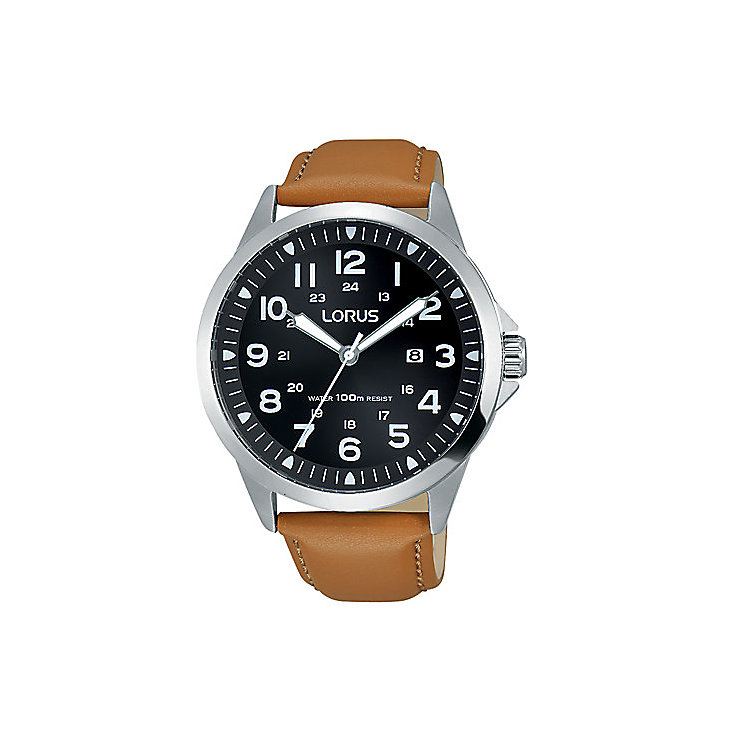 Lorus Men's Black Dial Brown Leather Strap Watch - Product number 5292867