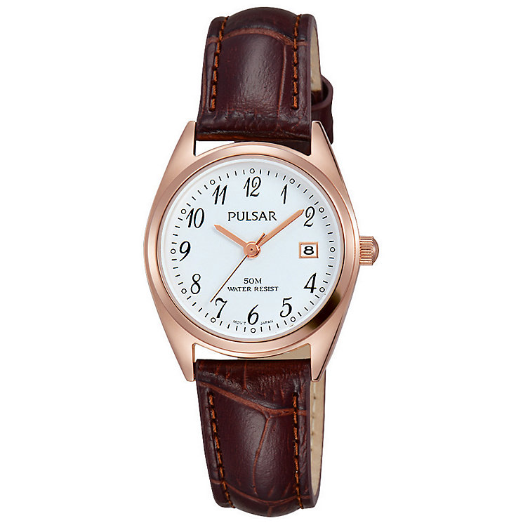 Pulsar Ladies' White Dial Brown Leather Strap Watch - Product number 5292921