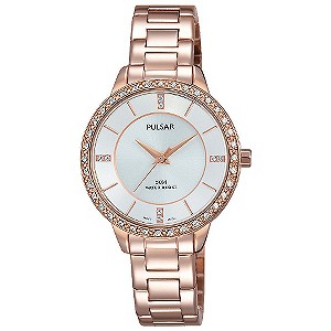 Pulsar Ladies' Silver Dial Rose Gold-Plated Bracelet Watch ...