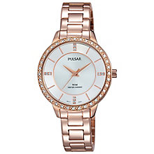Pulsar Ladies' Silver Dial Rose Gold-Plated Bracelet Watch - Product number 5292956