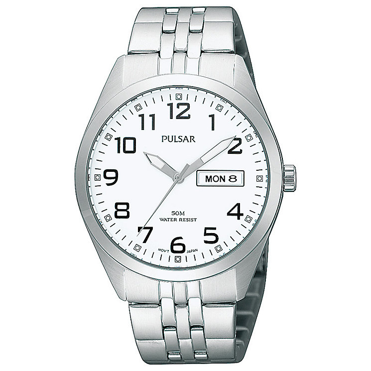 Pulsar Men's White Dial Stainless Steel Bracelet Watch - Product number 5292980