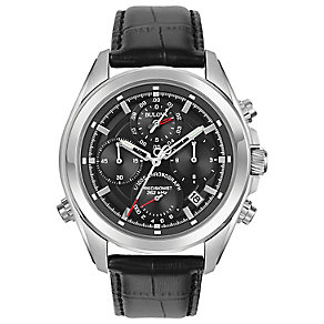 Bulova Precisionist Men's Black Leather Strap Watch - Product number 5293219