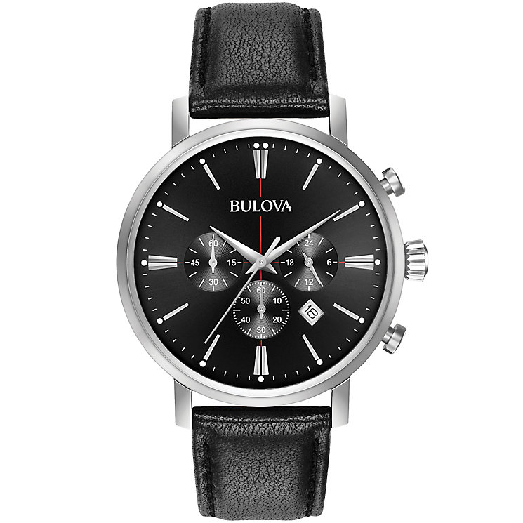 Bulova Aerojet Men's Chronograph Black Leather Strap Watch - Product number 5293235