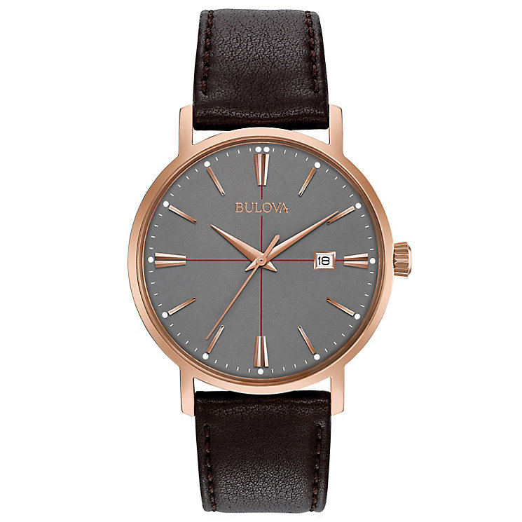 Bulova Aerojet Men's Grey Dial Brown Leather Strap Watch - Product number 5293278
