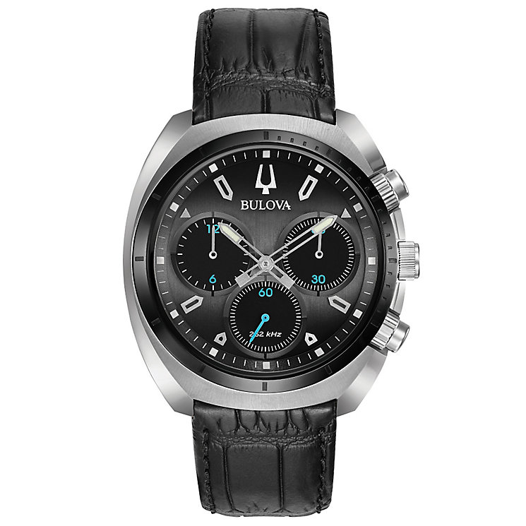 Bulova Curv Men's Chronograph Black Leather Strap Watch - Product number 5293286